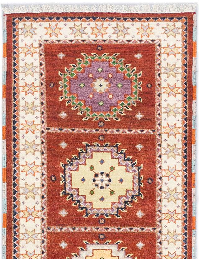 Hand-knotted Indian Geometric  Traditional Royal-Kazak Runner rug  Copper 2.9 x 8