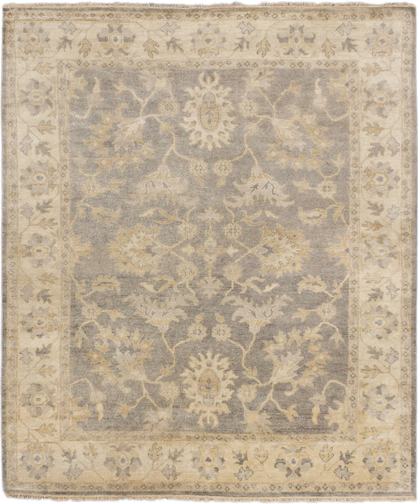 "Hand-knotted Indian Traditional Royal-Ushak Area rug  Dark Grey 8'1 x 9'8"" """