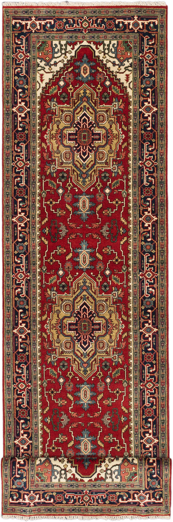 Hand-knotted Indian Traditional Serapi-Heritage Runner rug  Dark Burgundy 4 x 19.8
