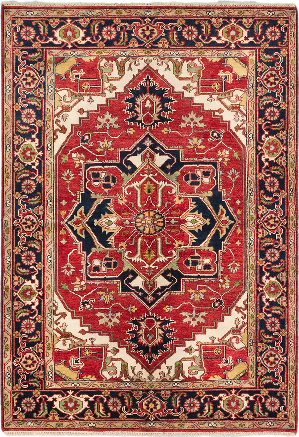 "Hand-knotted Indian Traditional Serapi-Heritage Area rug  Dark Burgundy 6'2 x 9'0"" """