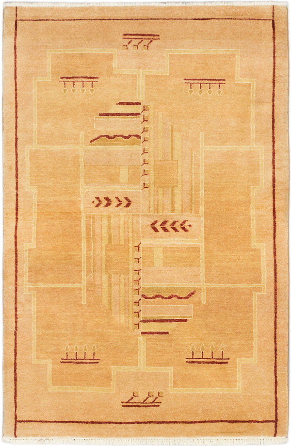 Hand-knotted Pakistani Casual Peshawar-Ziegler Area rug  Ivory 4 x 6.3