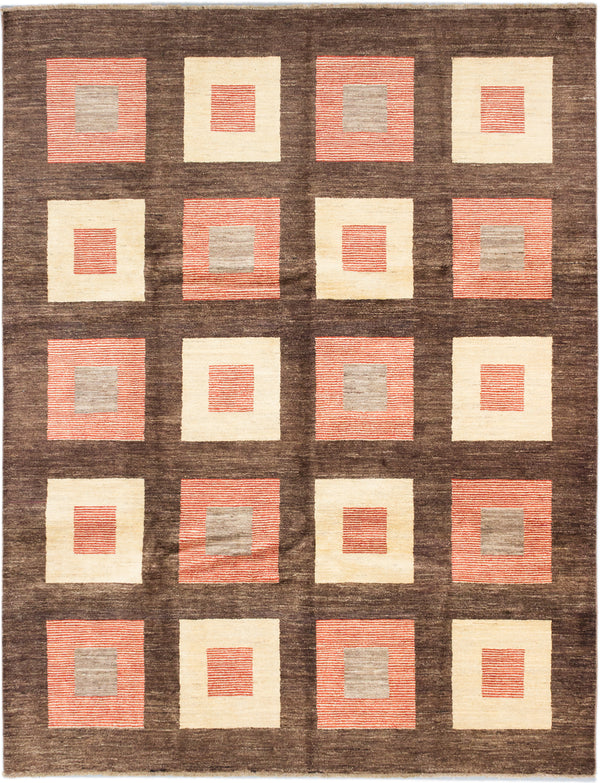 "Hand-knotted Pakistani Transitional Peshawar-Ziegler Area rug  Brown 8'0 x 10'6"" """
