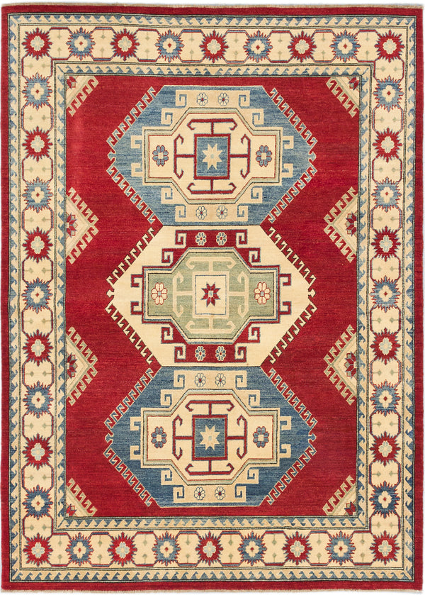 "Hand-knotted Afghan Traditional Finest-Gazni Area rug  Dark Burgundy 6'5 x 8'10"" """