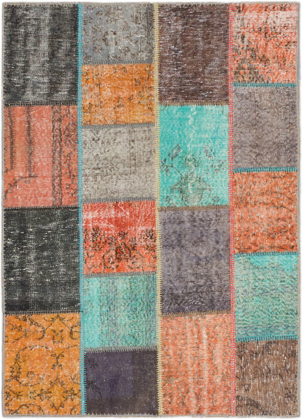 "Hand-knotted Turkish Transitional Color-Transition-Patch Area rug  Baby Blue, Dark Orange 4'8 x 6'6"" """