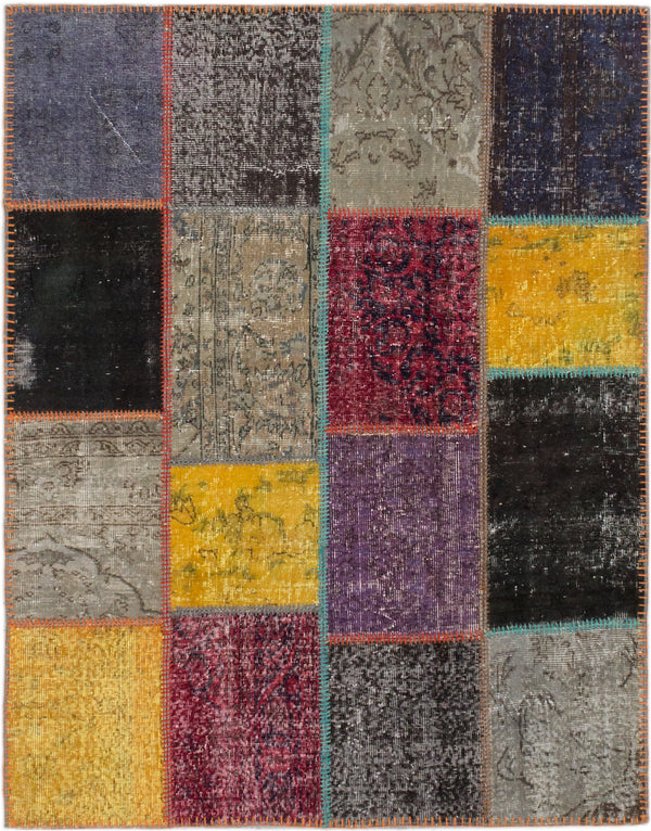 "Hand-knotted Turkish Transitional Color-Transition-Patch Area rug  Gold, Grey 5'1 x 6'8"" """
