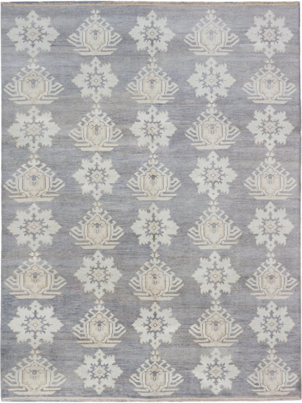 "Hand-knotted Indian Transitional Royal-Ushak Area rug  Cream, Dark Grey 9'0 x 11'8"" """