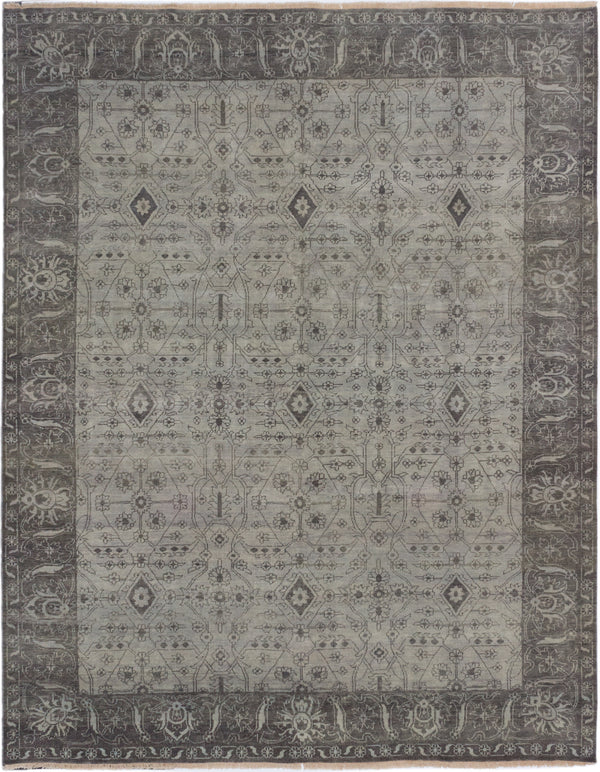 "Hand-knotted Indian Traditional Finest-Ushak Area rug  Light Grey 9'4 x 11'8"" """