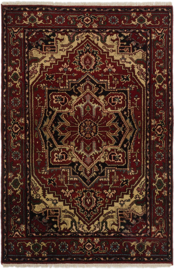 "Hand-knotted Indian Floral  Traditional Serapi-Heritage Area rug  Dark Orange 4'0 x 6'0"" """