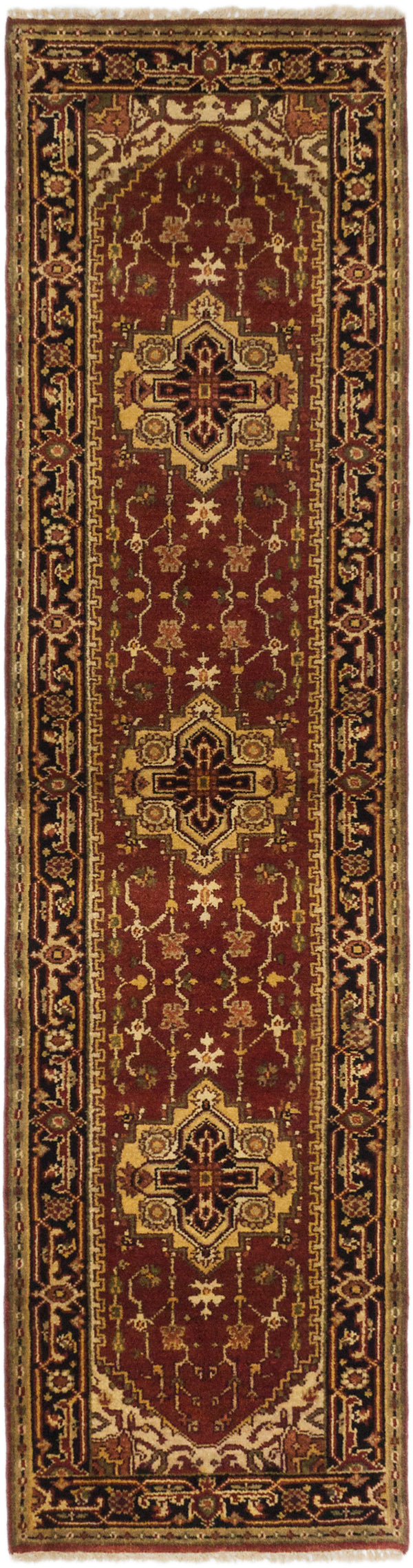 "Hand-knotted Indian Floral  Traditional Serapi-Heritage Runner rug  Dark Orange 2'7 x 10'0"" """