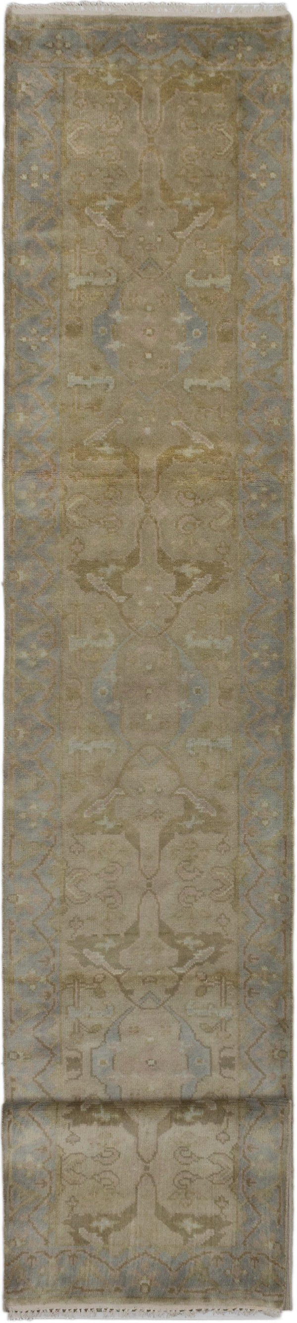 "Hand-knotted Indian Floral  Traditional Royal-Ushak Runner rug  Beige 2'8 x 15'8"" """