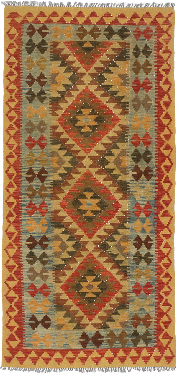 Flat-weave Turkish Traditional Hereke-FW Area rug  Dark Copper, Gold 3.1 x 6.6