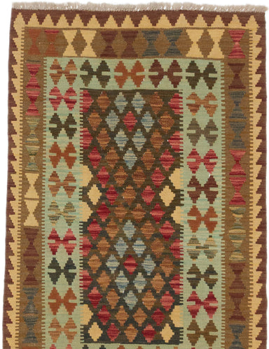 "Flat-weave Turkish Traditional Kashkoli-FW Area rug  Light Gold, Olive 3'0 x 4'10"" """