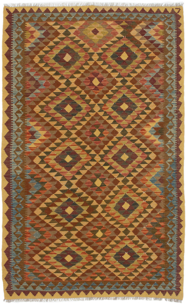 Flat-weave Turkish Flat-weaves & Kilims  Traditional Kashkoli-FW Area rug  Copper, Light Brown 5 x 7.1