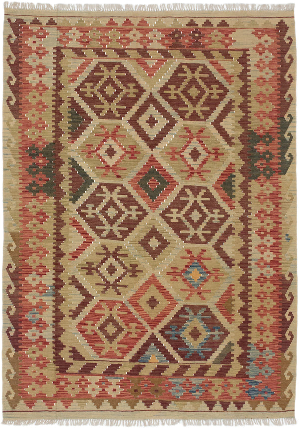 Flat-weave Turkish Flat-weaves & Kilims  Traditional Anatolian-FW Area rug  Copper, Dark Khaki 4.1 x 6.9