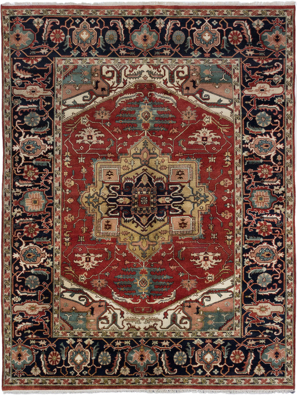 "Hand-knotted Indian Traditional Serapi-Heritage Area rug  Dark Orange 9'0 x 11'10"" """