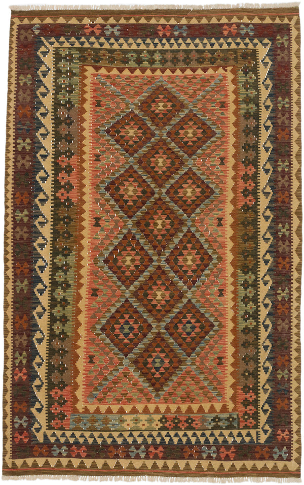 "Flat-weave Turkish Traditional Hereke-FW Area rug  Copper, Light Brown 5'1 x 7'11"" """