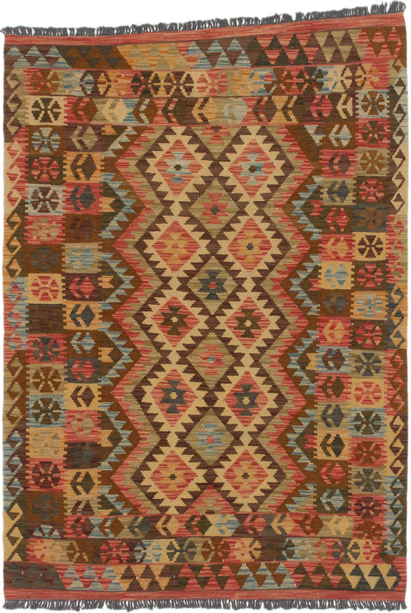 "Flat-weave Turkish Flat-weaves & Kilims  Traditional Sivas Area rug  Copper, Light Gold 4'4 x 6'1"" """