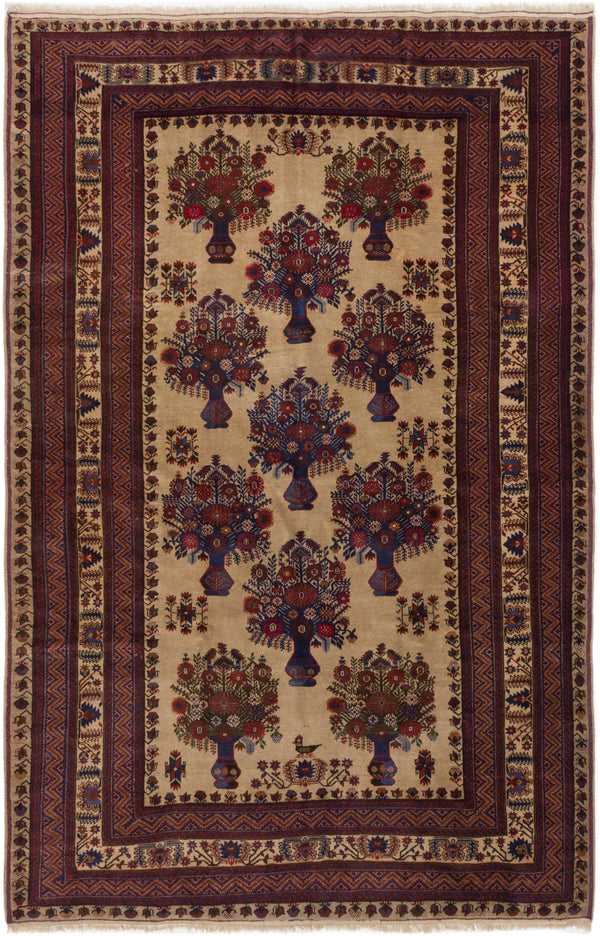 "Hand-knotted Afghan Traditional Finest-Mouri Area rug  Ivory 6'8 x 10'4"" """