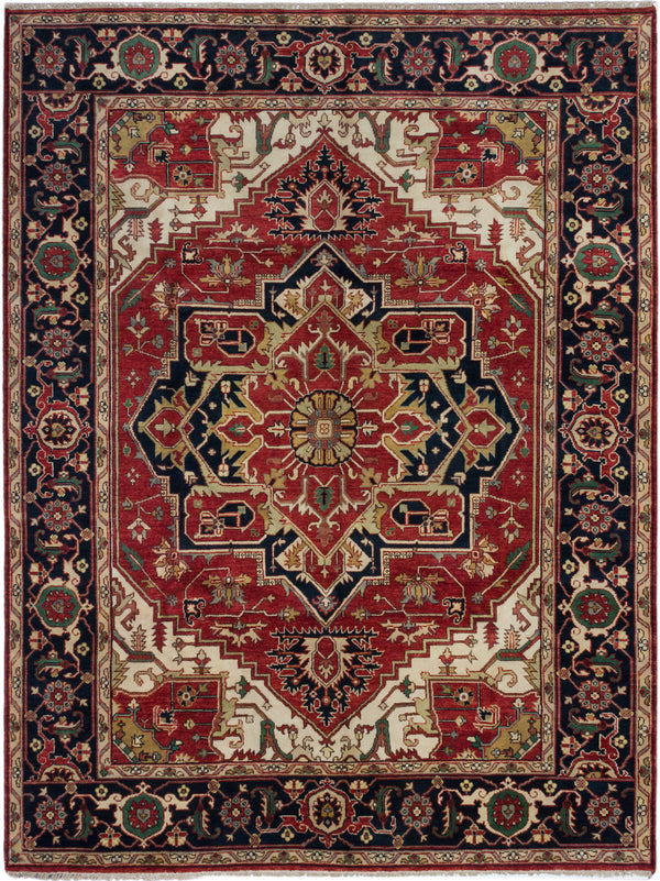 "Hand-knotted Indian Traditional Serapi-Heritage Area rug  Dark Burgundy 9'1 x 11'10"" """