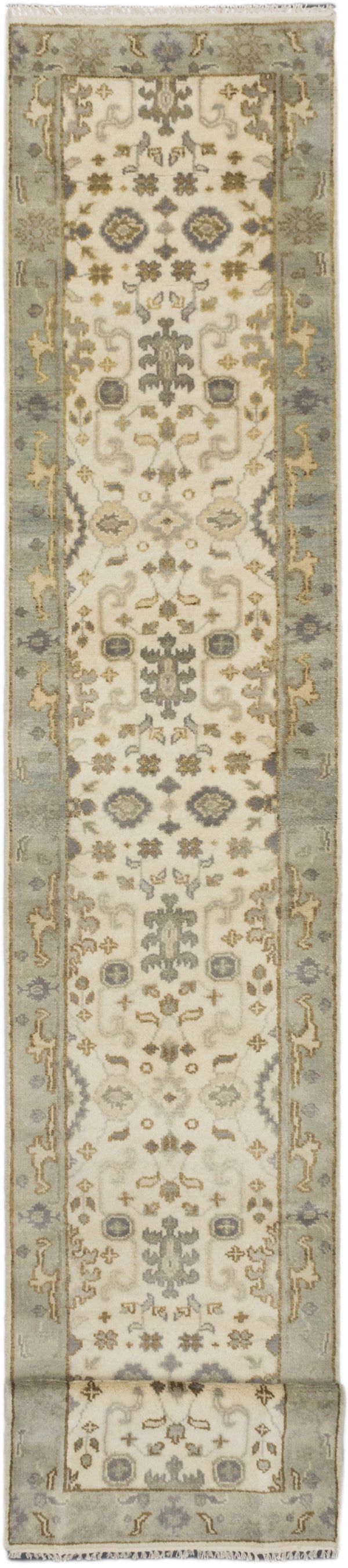 Hand-knotted Indian Floral  Traditional Royal-Ushak Runner rug  Cream 2.7 x 19.5