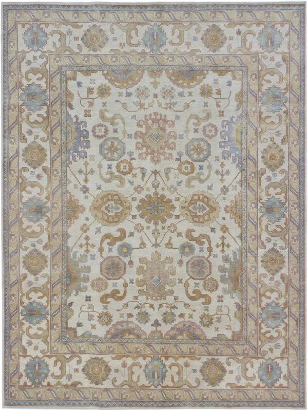 "Hand-knotted Indian Traditional Royal-Ushak Area rug  Beige, Cream 8'10 x 11'9"" """