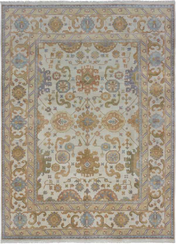 "Hand-knotted Indian Traditional Royal-Ushak Area rug  Cream 8'6 x 11'8"" """