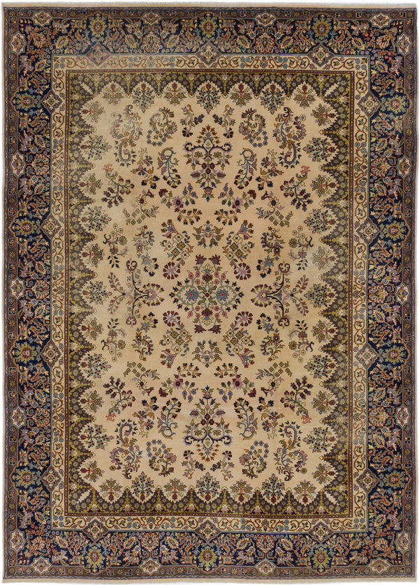 Hand-knotted  Vintage Kerman Area rug  Cream 8.1 x 11.4