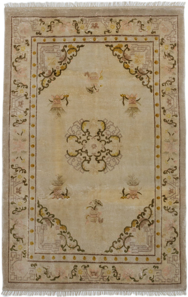 "Hand-knotted Chinese Bohemian  Traditional Aubousson-Harrir Area rug  Cream, Light Yellow 3'11 x 6'0"" """