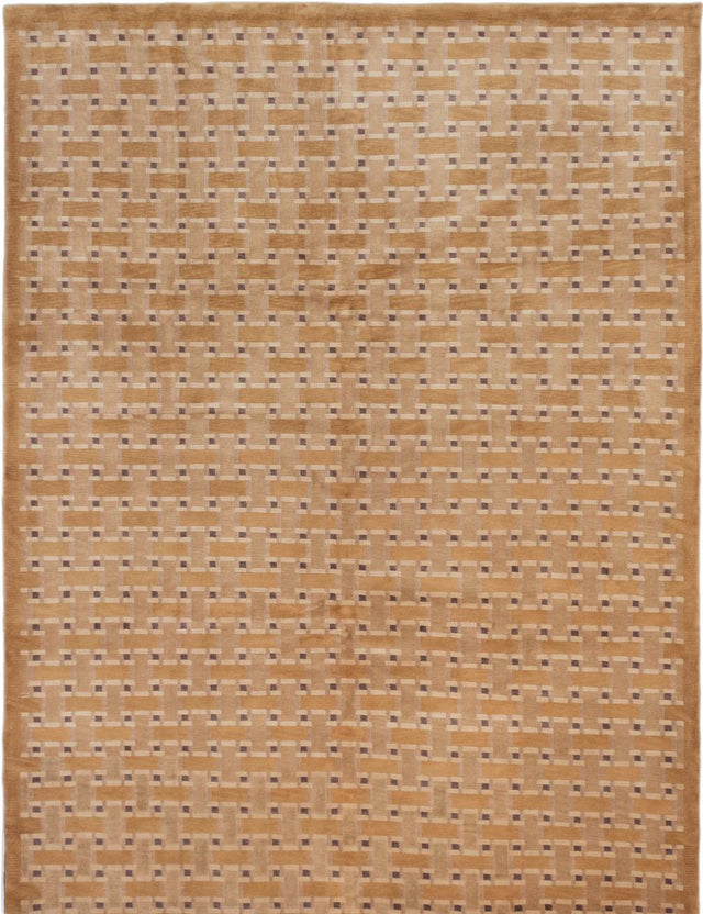 "Hand-knotted  Carved  Transitional Aurora Area rug  Light Brown 9'1 x 12'4"" """
