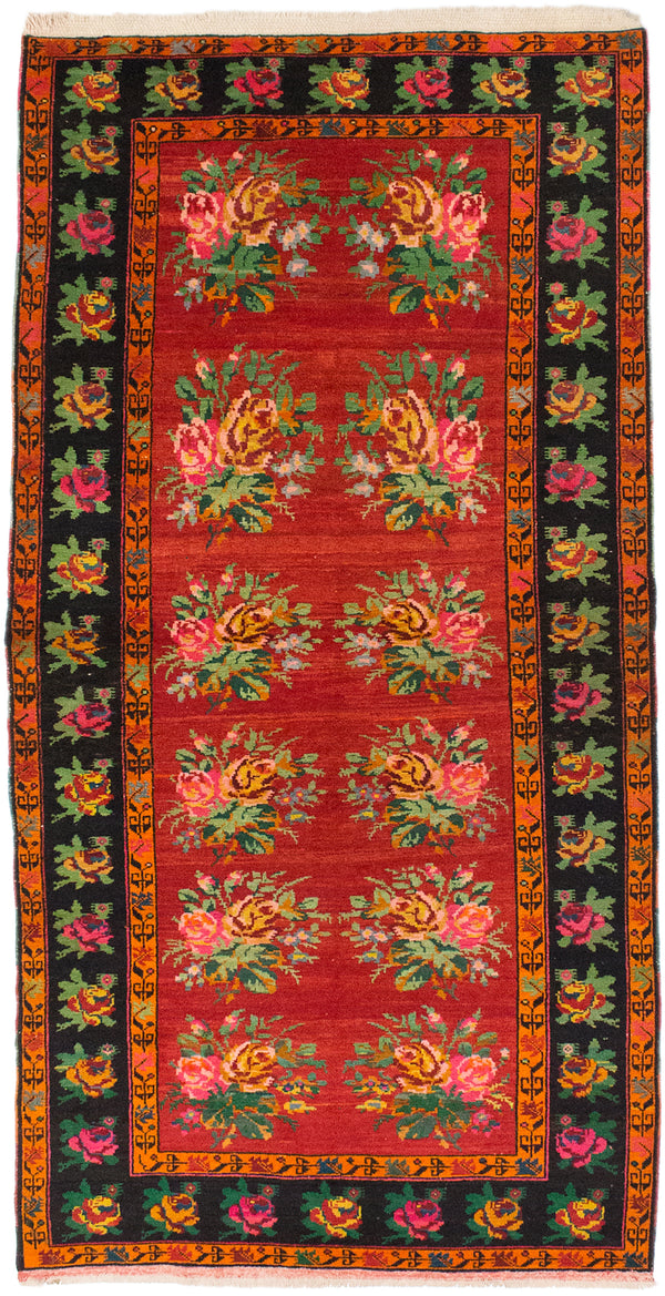 "Hand-knotted Turkish Floral  Traditional Caucasus-Shirvan Area rug  Dark Burgundy 4'2 x 8'2"" """