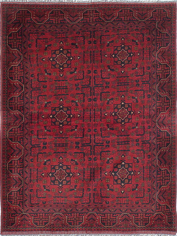 "Hand-knotted Afghan Traditional Finest-Khal-Mohammadi Area rug  Dark Burgundy 5'1 x 6'8"" """