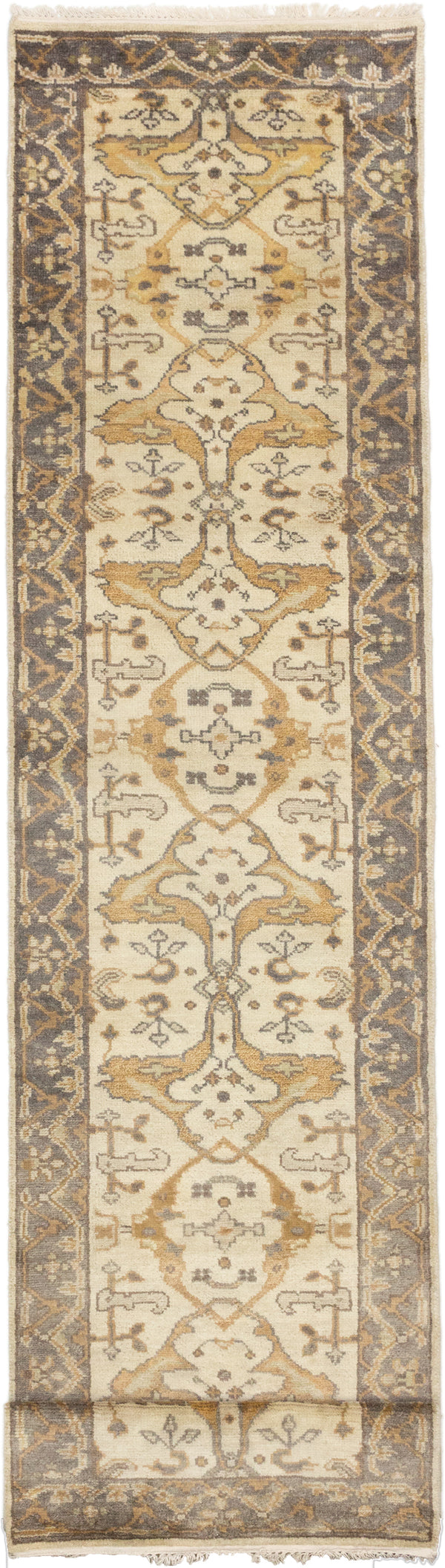 Hand-knotted Indian Floral  Traditional Royal-Ushak Runner rug  Cream 2.1 x 19.1