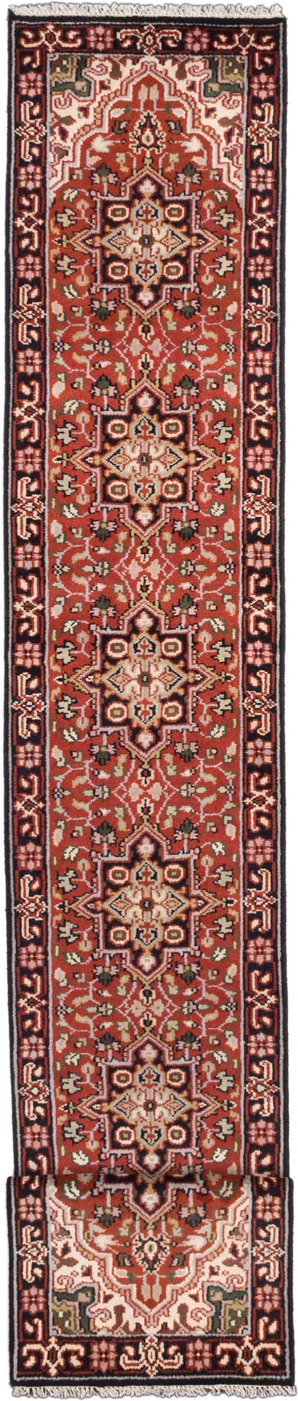 "Hand-knotted Indian Geometric  Traditional Royal-Heriz Runner rug  Dark Copper 2'6 x 16'1"" """