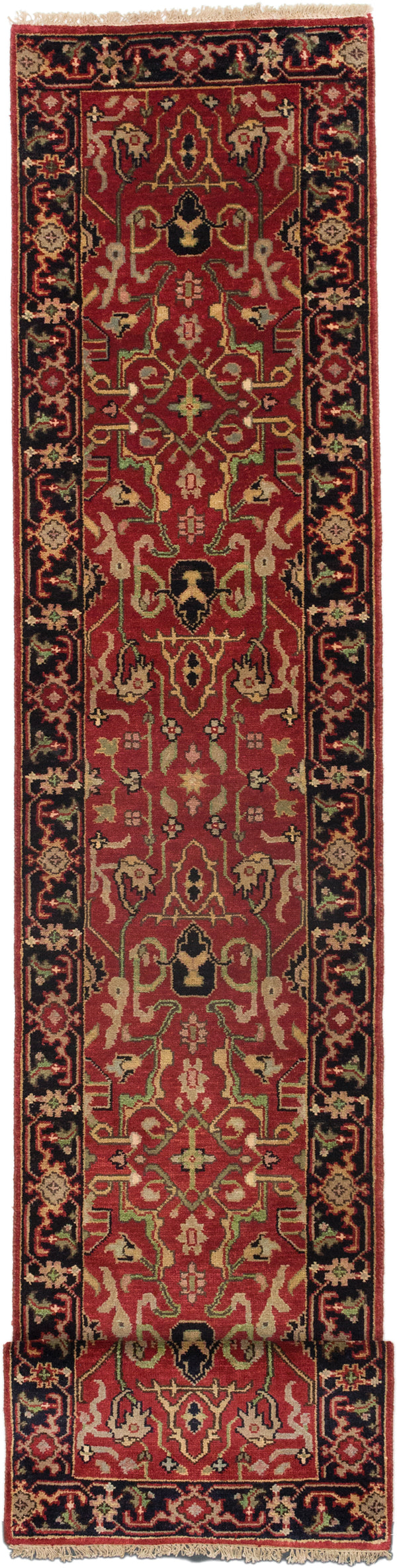 Hand-knotted Indian Floral  Traditional Serapi-Heritage Runner rug  Black, Dark Copper 2.5 x 20