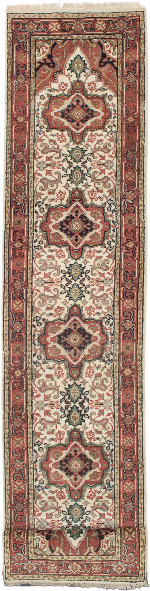 "Hand-knotted Indian Floral  Traditional Serapi-Heritage Runner rug  Cream, Dark Copper 2'6 x 15'11"" """