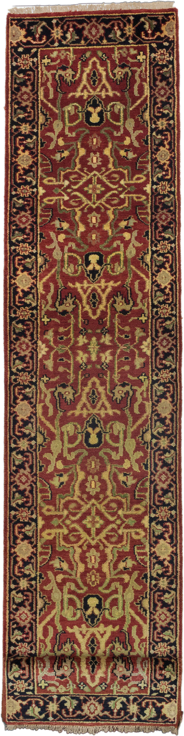 "Hand-knotted Indian Floral  Traditional Serapi-Heritage Runner rug  Black, Dark Burgundy 2'7 x 19'9"" """