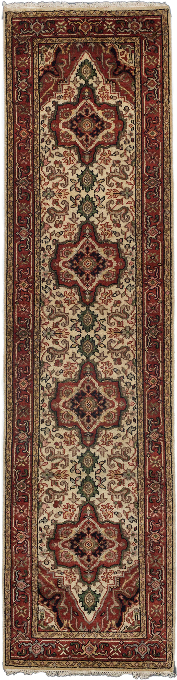 "Hand-knotted Indian Floral  Traditional Serapi-Heritage Runner rug  Cream, Dark Burgundy 2'8 x 10'3"" """