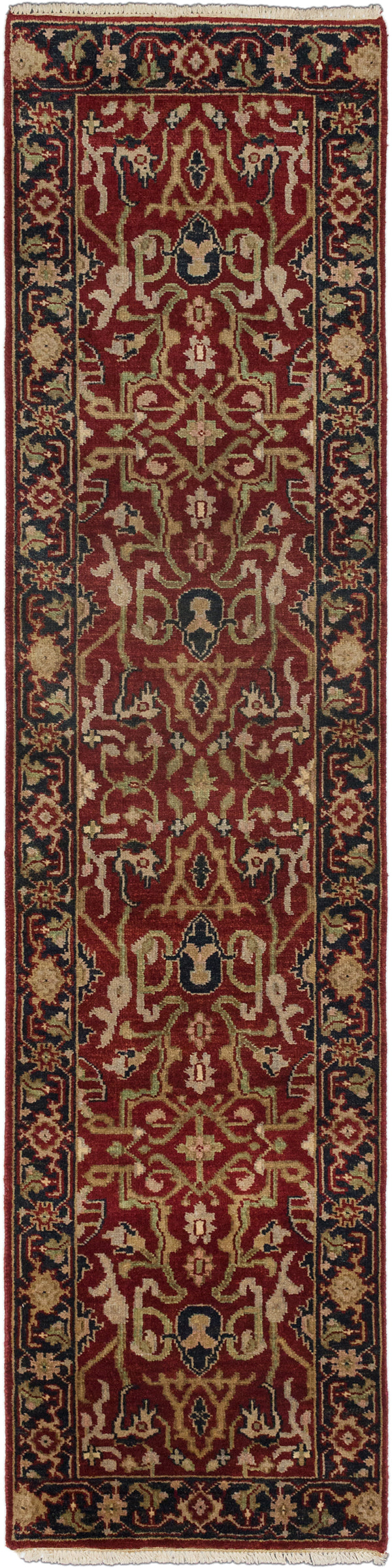 "Hand-knotted Indian Floral  Traditional Serapi-Heritage Runner rug  Black, Dark Burgundy 2'6 x 10'0"" """