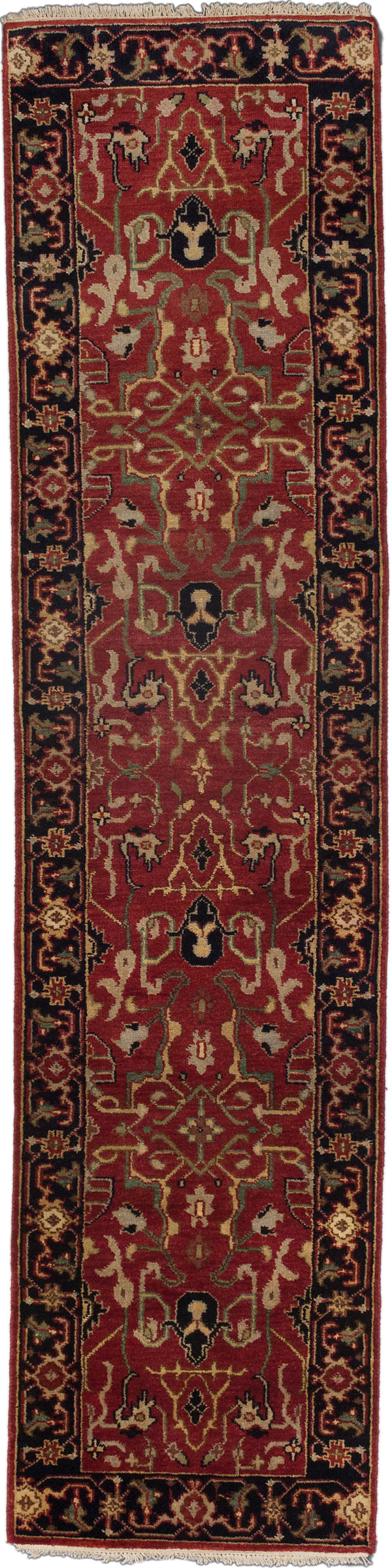 "Hand-knotted Indian Floral  Traditional Serapi-Heritage Runner rug  Black, Dark Burgundy 2'7 x 10'3"" """