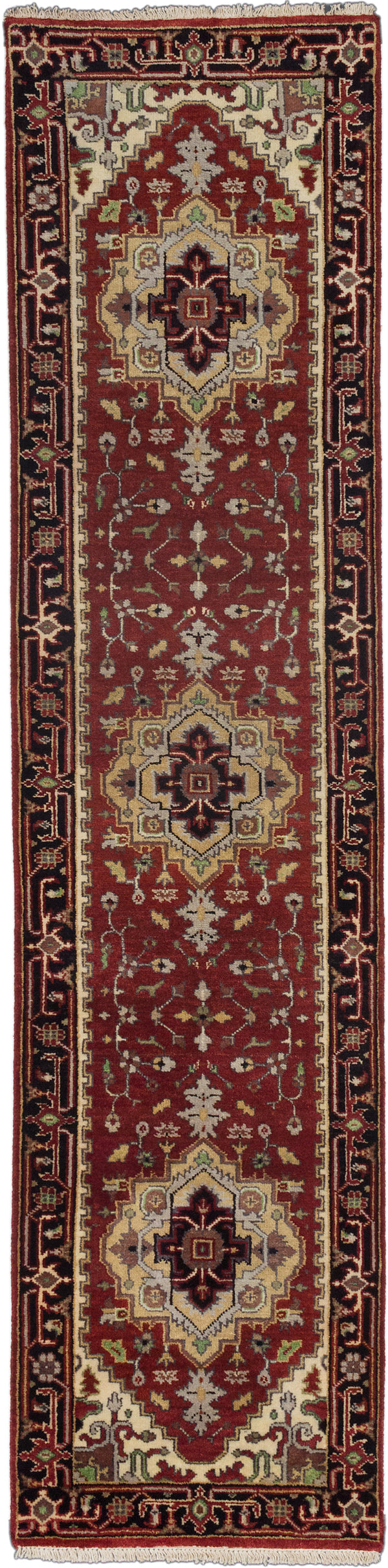 "Hand-knotted Indian Floral  Traditional Serapi-Heritage Runner rug  Black, Dark Red 2'7 x 10'3"" """