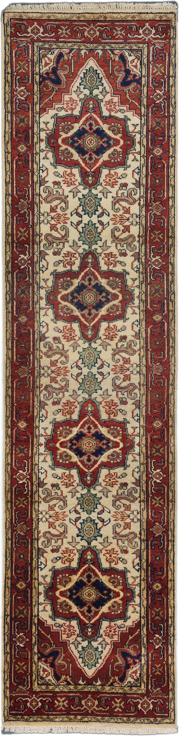"Hand-knotted Indian Floral  Traditional Serapi-Heritage Runner rug  Cream, Dark Copper 2'6 x 10'2"" """
