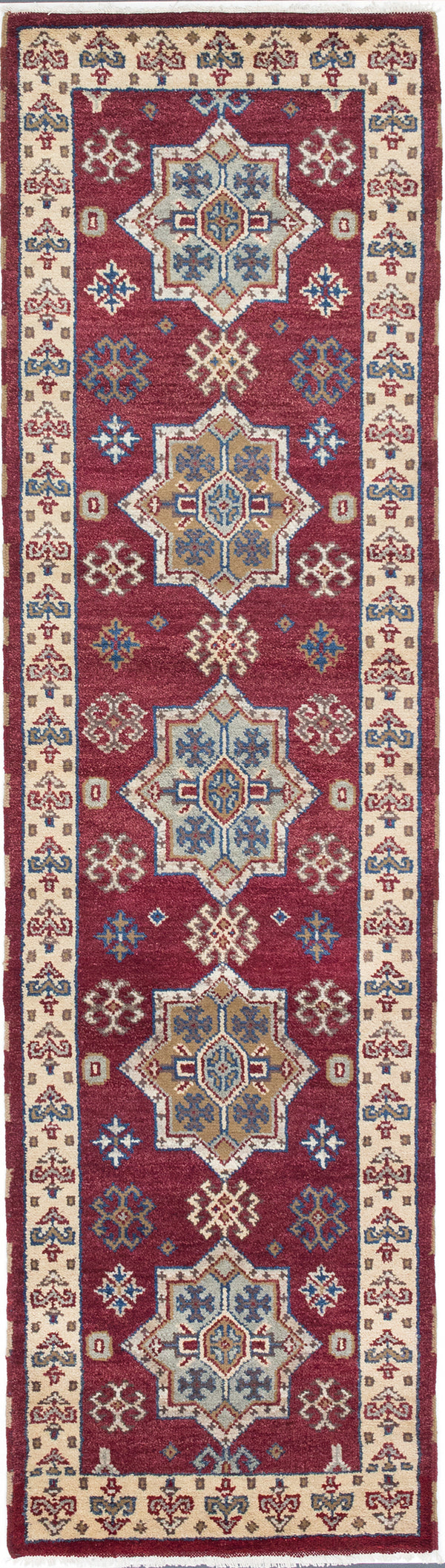 "Hand-knotted Indian Traditional Royal-Kazak Runner rug  Burgundy 8'9 x 9'10"" """