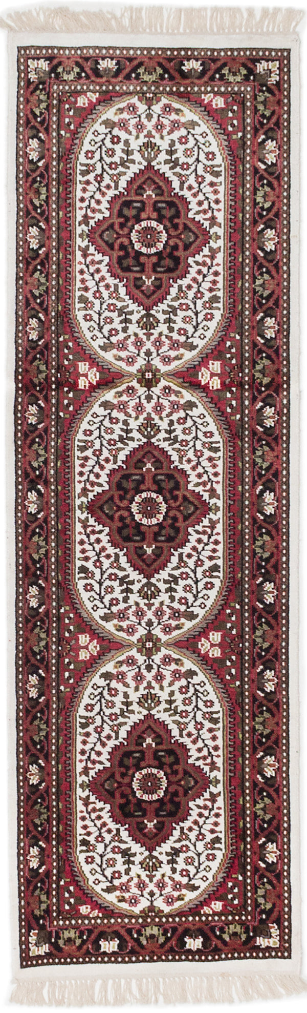 Hand-knotted Indian Traditional Kashmir Runner rug  White 2 x 6.6