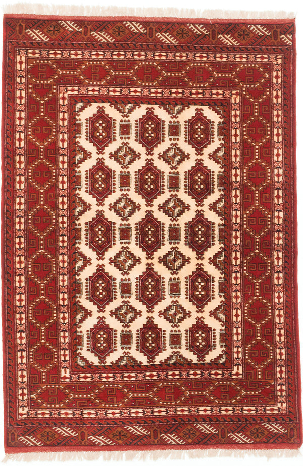 "Hand-knotted  Traditional Shiravan-Bokhara Area rug  Cream, Dark Burgundy 4'6 x 6'7"" """