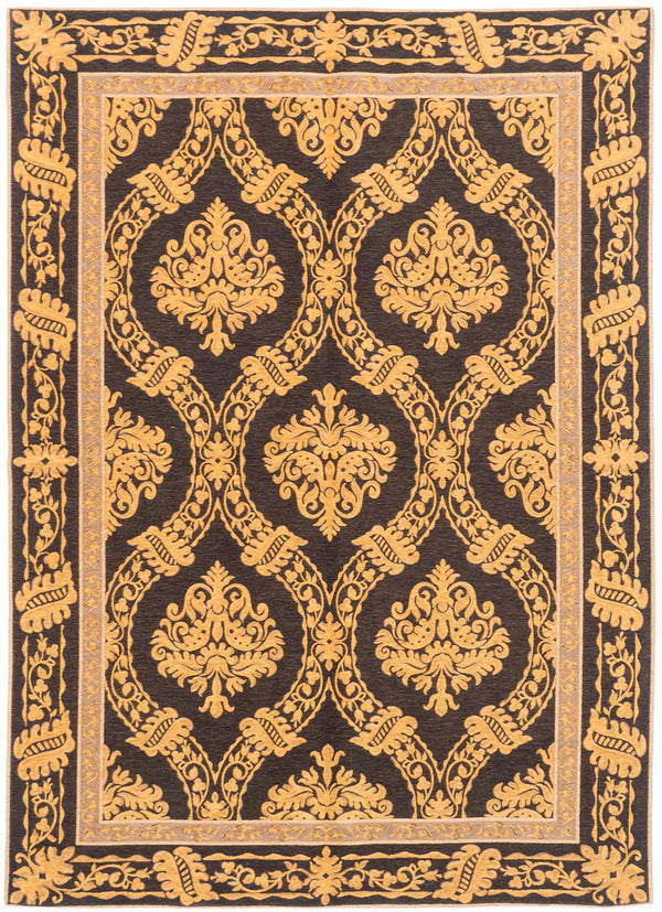 "Flat-weave Chinese Flat-weaves & Kilims  Transitional Royale Area rug  Black Yellow, Light Gold 5'6 x 7'9"" """