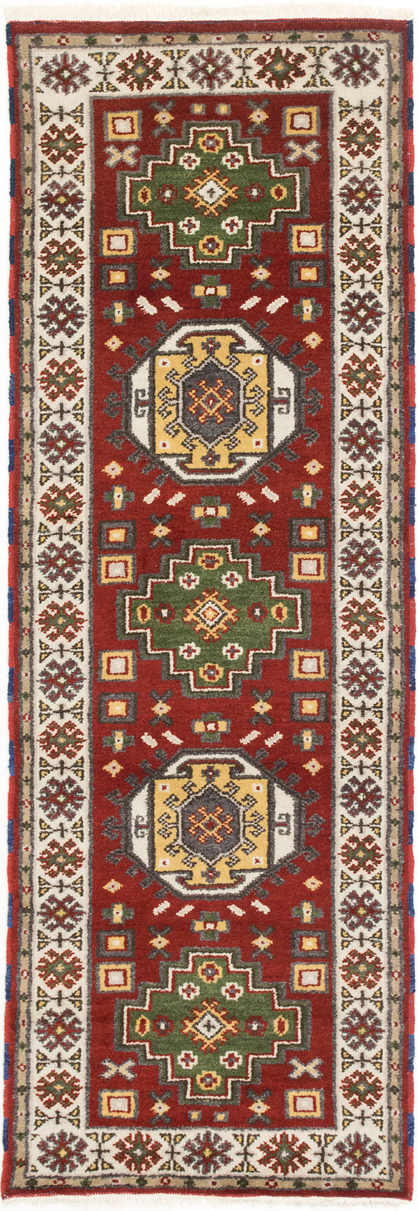 Hand-knotted Indian Geometric  Traditional Royal-Kazak Runner rug  Cream, Dark Red 2.9 x 8