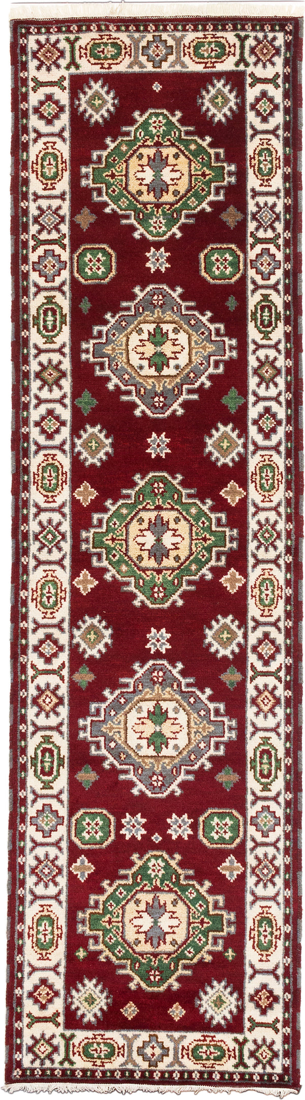 Hand-knotted Indian Geometric  Traditional Royal-Kazak Runner rug  Cream, Dark Burgundy 2.8 x 9.1