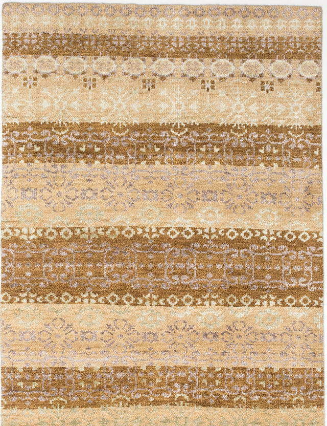 "Hand-knotted Indian Transitional La-Seda Area rug  Beige, Brown 4'11 x 8'1"" """