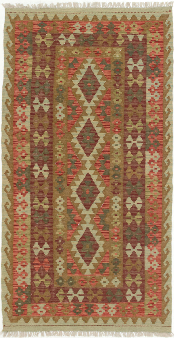 "Flat-weave Turkish Flat-weaves & Kilims  Traditional Kashkoli-FW Area rug  Dark Burgundy, Light Brown 3'5 x 6'8"" """