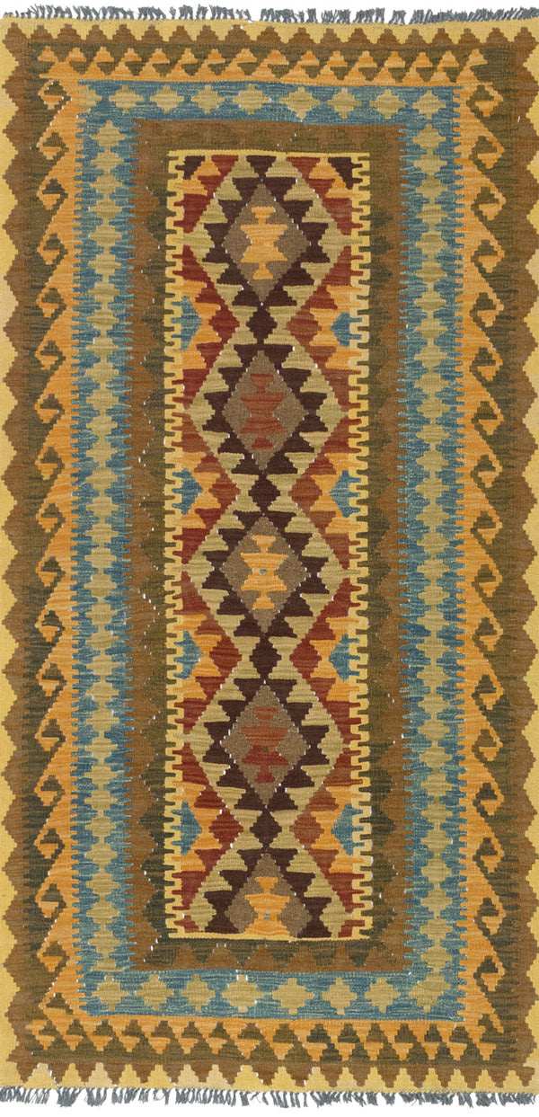 Flat-weave Turkish Flat-weaves & Kilims  Traditional Kashkoli-FW Area rug  Light Brown, Light Orange 3.3 x 6.6